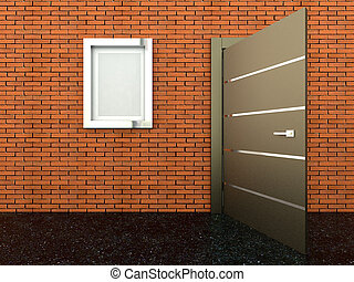 3d rendering of a metal door