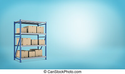 3d rendering of a metal storage rack with three shelves full of closed carton boxes with goods.
