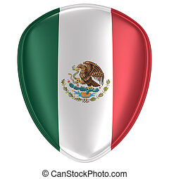 3d rendering of a Mexico flag icon.