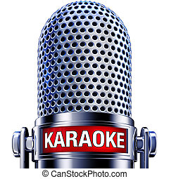 3D rendering of a microphone with a karaoke icon