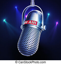 on air - 3D rendering of a microphone with a on air icon