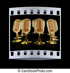 3d rendering of a microphones. The film strip