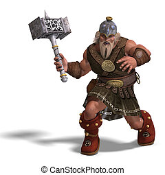 mighty fantasy dwarf with a hammer - 3D rendering of a ...