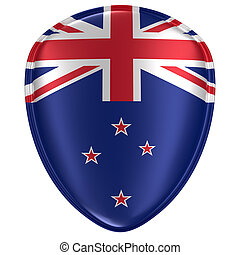 3d rendering of a New Zealand flag icon.