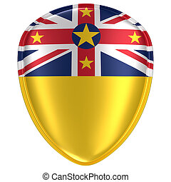 3d rendering of a Niue flag icon.