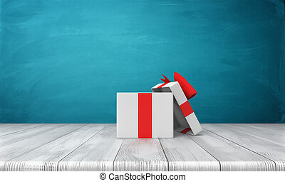 3d rendering of a open white gift box with a red bow standing on a wooden desk in front of a blue background.