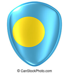 3d rendering of a Palau flag icon.