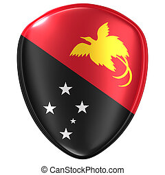 3d rendering of a Papua New Guinea flag icon.
