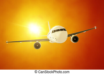 passenger airplane in the evening sun