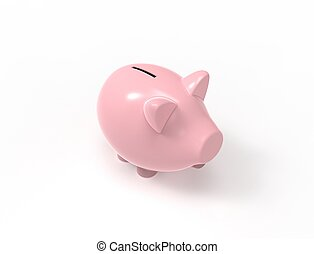 3D rendering of a pink piggy bank isolated in white background.