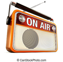 on air - 3D rendering of a radio with an on air icon