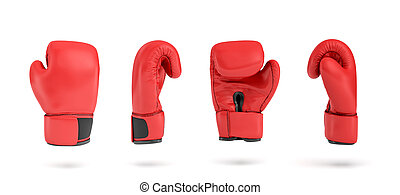 3d rendering of a red right boxing glove in four different angle views.