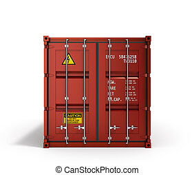 3d rendering of a red shipping container
