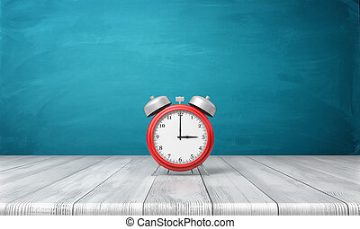 3d rendering of a red vintage alarm clock with metal bells stands on a wooden desk in front of blue background.