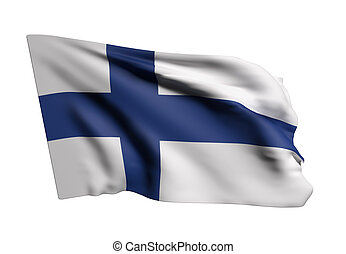 Finland flag - 3d rendering of a Republic of Finland flag...