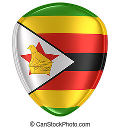 3d rendering of a Republic of Zimbabwe flag icon. - 3d ...