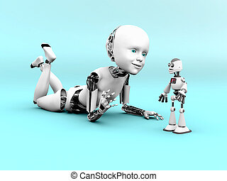 3D rendering of a robot child playing.