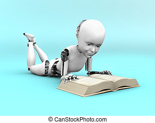 3D rendering of a robot child reading a book. - 3D rendering...