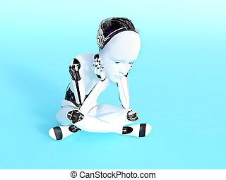 3D rendering of a robot child thinking.