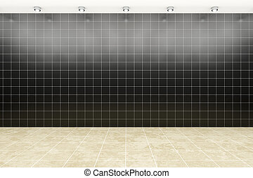 room with black tiles background
