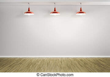 room with three red lamps