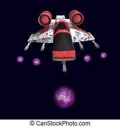 sci fi spaceship in universe - 3D rendering of a sci fi...