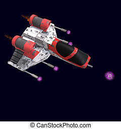 sci fi spaceship in universe