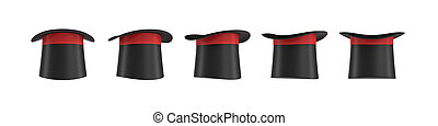 3d rendering of a set of several black magician's hats with one red stripe in different side views.