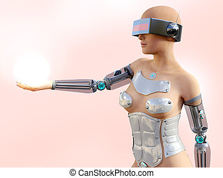3D rendering of a sexy female android robot holding energy sphere.