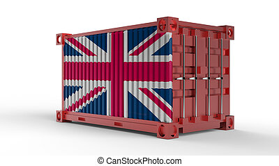 3d rendering of a shipping cargo container with British flag