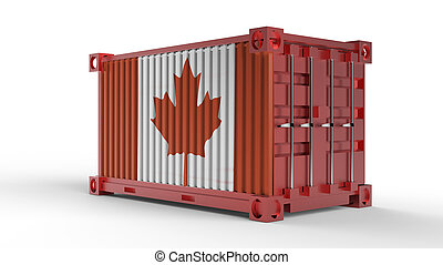 3d rendering of a shipping cargo container with canada flag