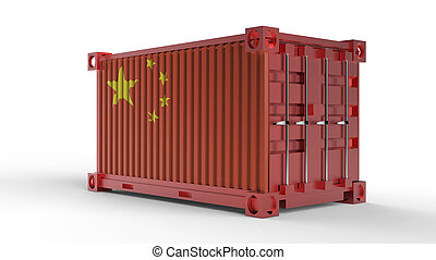 3d rendering of a shipping cargo container with China flag