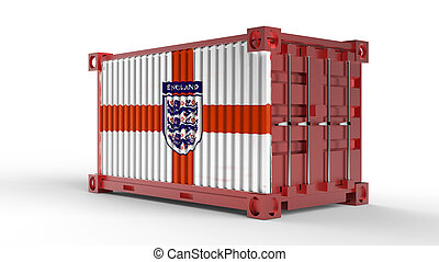 3d rendering of a shipping cargo container with England flag