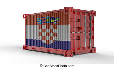 3d rendering of a shipping cargo container with Flag of Croatia