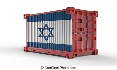 3d rendering of a shipping cargo container with Israel flag