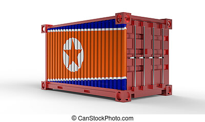 3d rendering of a shipping cargo container with North Korea Flag