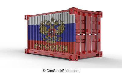 3d rendering of a shipping cargo container with Russian flag