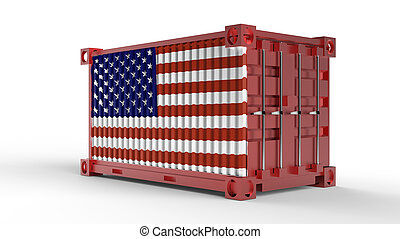 3d rendering of a shipping cargo container with USA Flag