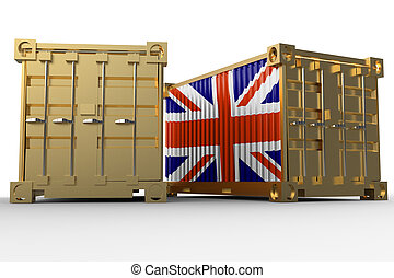 3d rendering of a shipping cargo containers with British flag