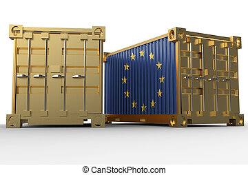 3d rendering of a shipping cargo containers with Flag of European Union