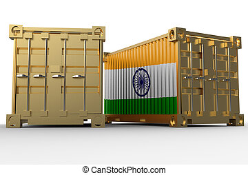 3d rendering of a shipping cargo containers with Indian flag