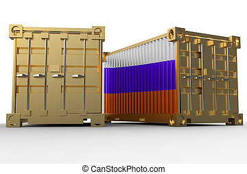 3d rendering of a shipping cargo containers with Russian flag