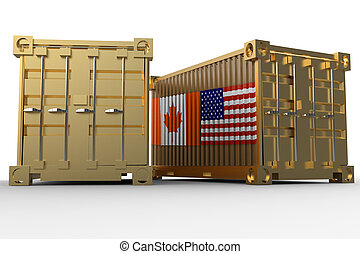 3d rendering of a shipping cargo containers with USA and Canada flag.
