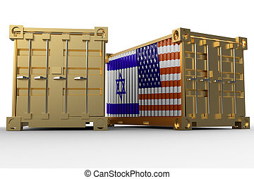 3d rendering of a shipping cargo containers with USA and Israel flag.