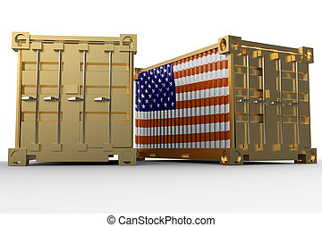 3d rendering of a shipping cargo containers with USA flag.