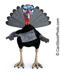3D rendering of a silly angry toon turkey holding cleaver.