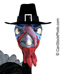 3D rendering of a silly angry toon turkey wearing pilgrim hat.
