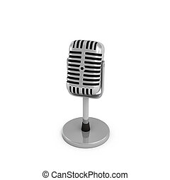 3d rendering of a silver metal retro tabletop microphone with a round base.