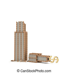 3d rendering of a skyscraper with a dollar sign on the top broken in half isolated on white background.
