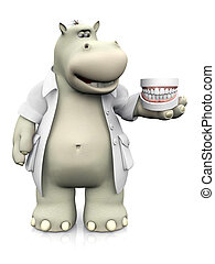 3D rendering of a smiling cartoon hippo dentist holding false teeth.